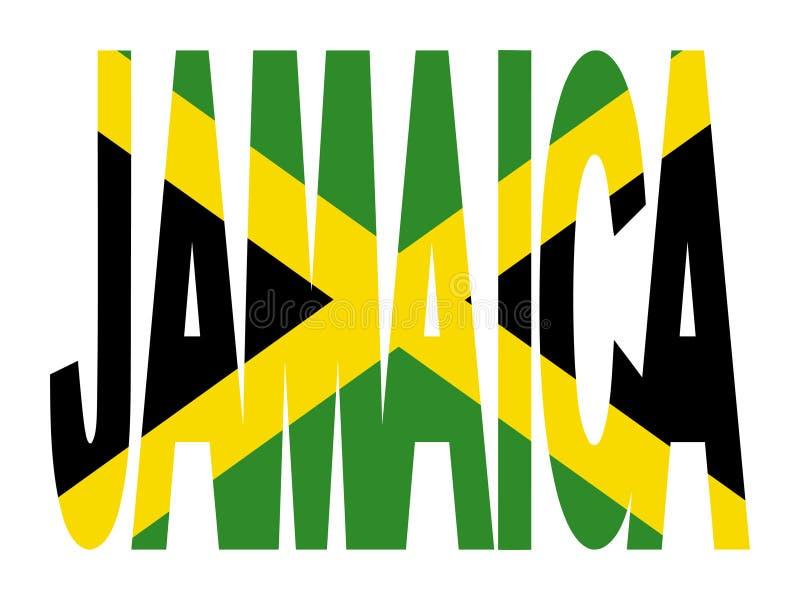 Jamaica text with flag. Overlapping Jamaica text with Jamaican flag illustration stock illustration