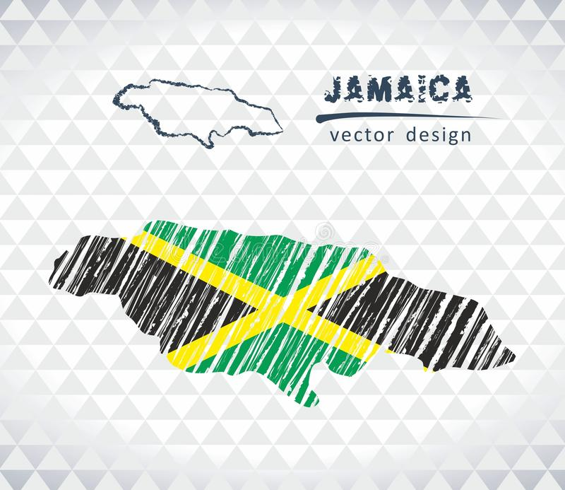 Jamaica vector map with flag inside isolated on a white background. Sketch chalk hand drawn illustration. Vector sketch map of Jamaica with flag, hand drawn stock illustration