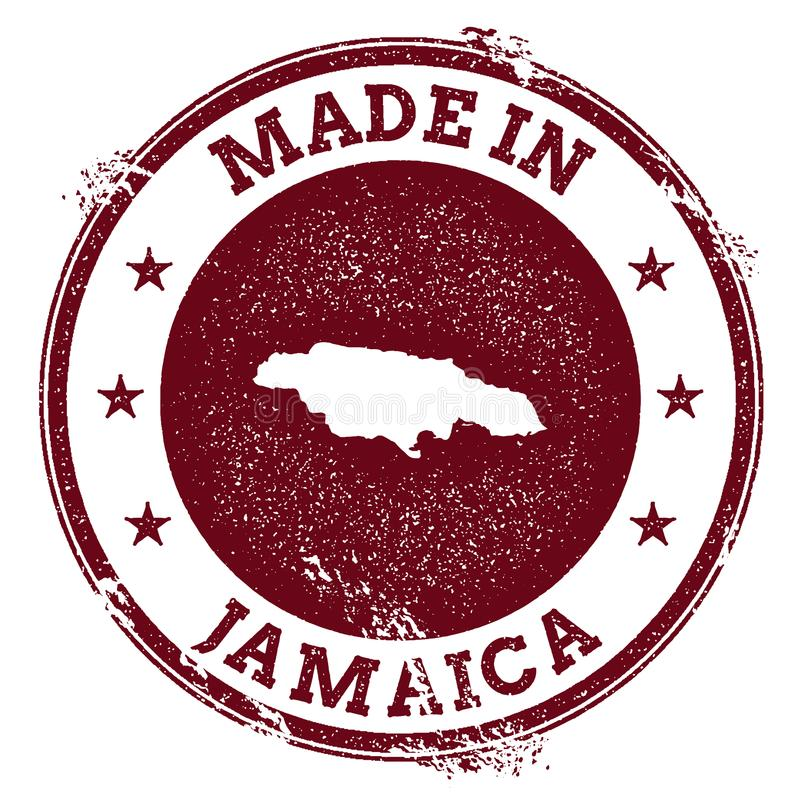 Jamaica vector seal. Vintage country map stamp. Grunge rubber stamp with Made in Jamaica text and map, vector illustration royalty free illustration