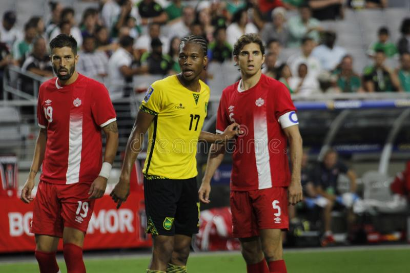 Jamaica vs Canada. In the Gold Cup quarterfinals at University of Phoenix Stadium in Glendale Arizona USA July 20,2017 stock photography