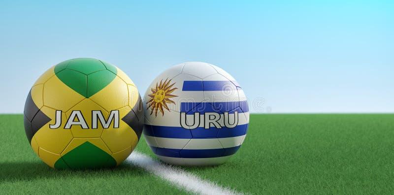 Jamaica vs. Uruguay Fußball-Match - Fußball-Bälle in Uruguay und Jamaika-Nationalfarben auf einem Fußballfeld lizenzfreie abbildung