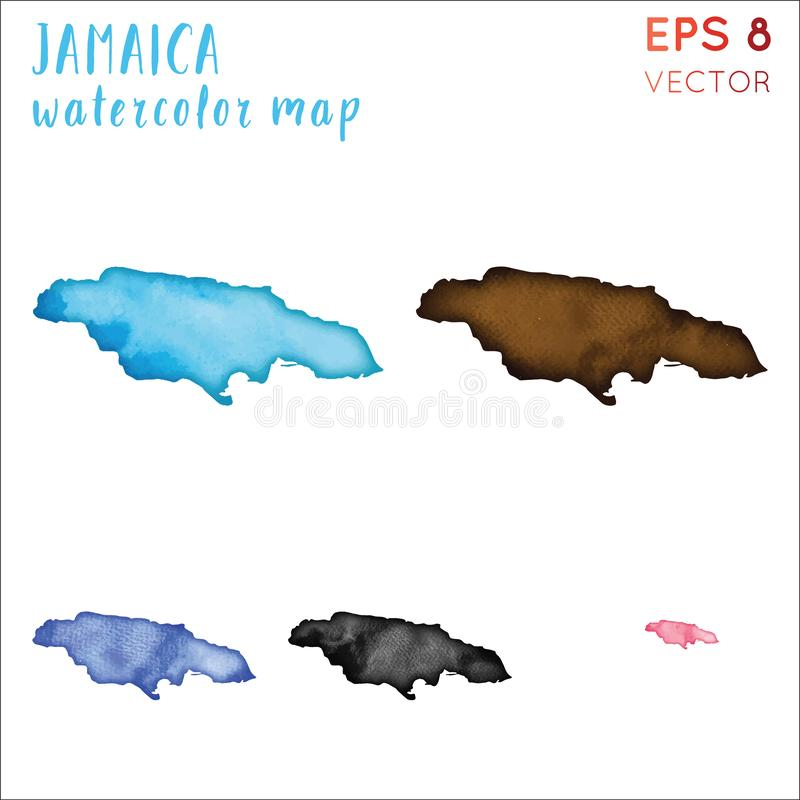 Jamaica watercolor country map. Handpainted watercolor Jamaica map set. Vector illustration vector illustration