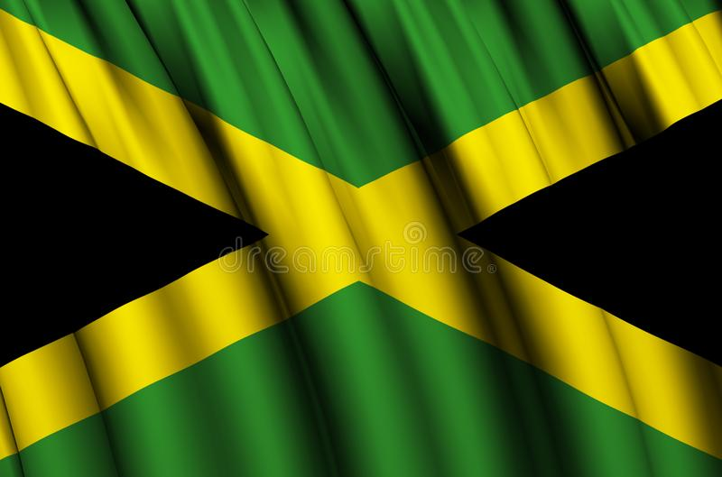 Jamaica waving flag illustration. Countries of North and Central America. Perfect for background and texture usage royalty free illustration