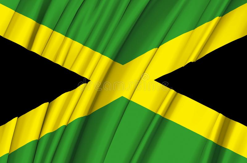 Jamaica waving flag illustration. Countries of North and Central America. Perfect for background and texture usage stock illustration