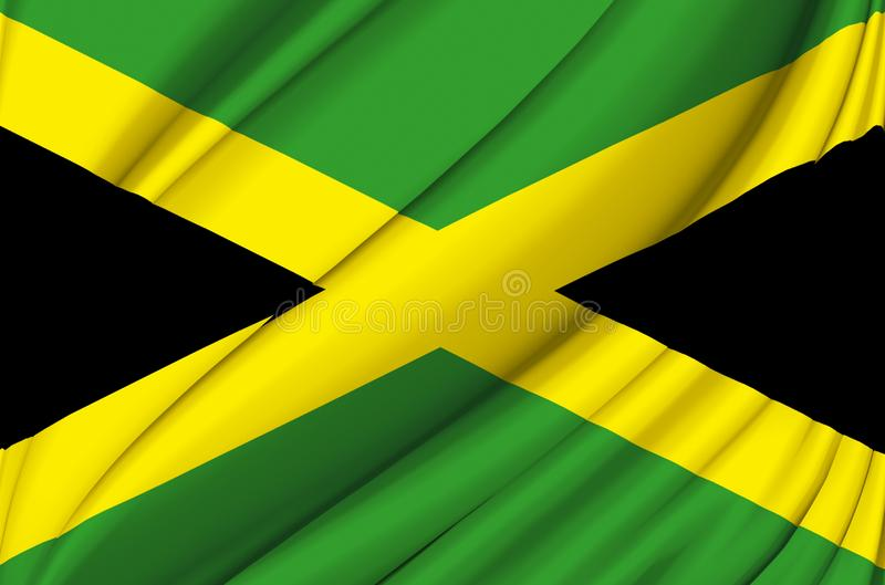 Jamaica waving flag illustration. Countries of North and Central America. Perfect for background and texture usage vector illustration