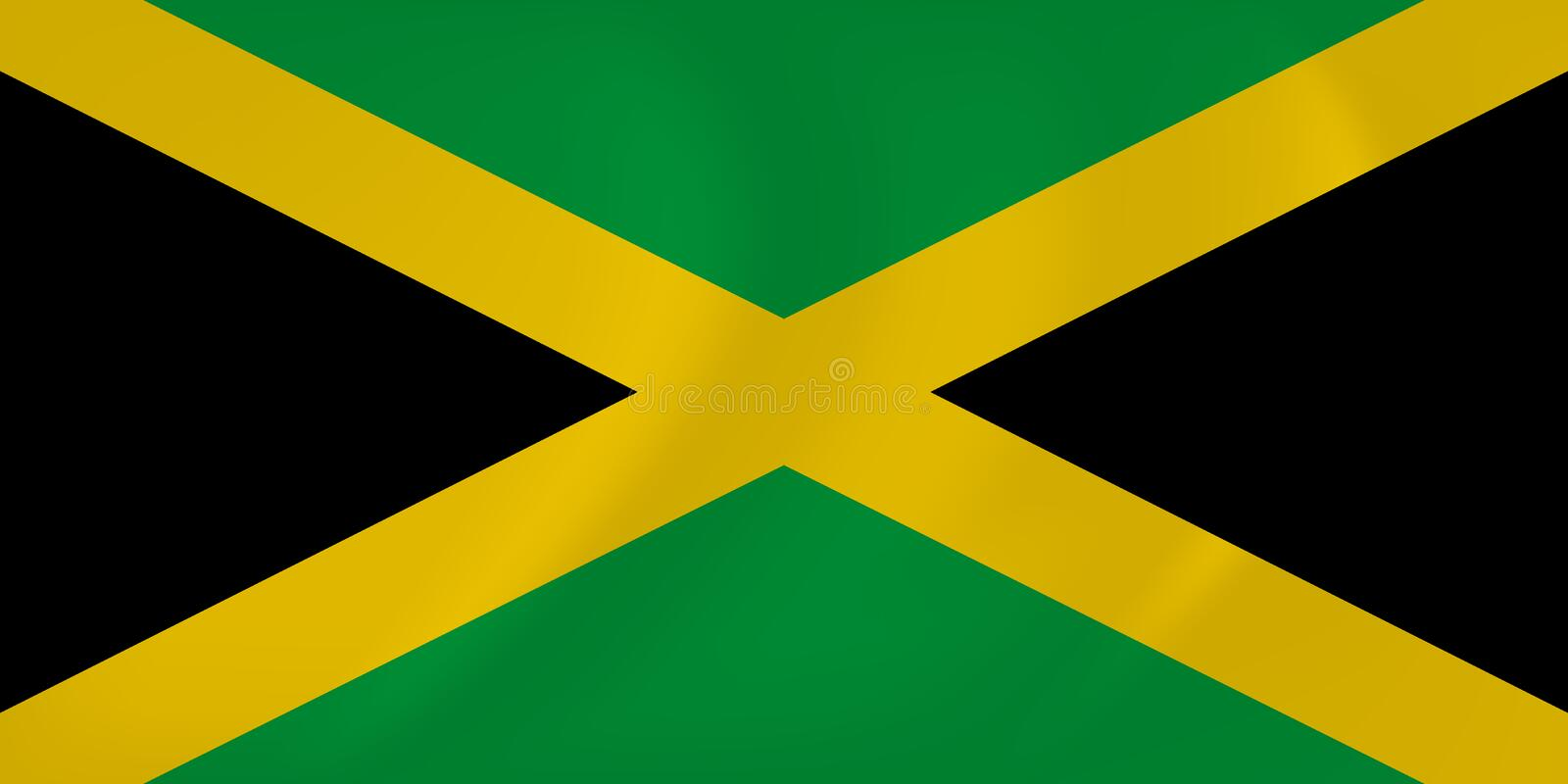 Jamaica waving flag. Vector image of the Jamaica waving flag stock illustration