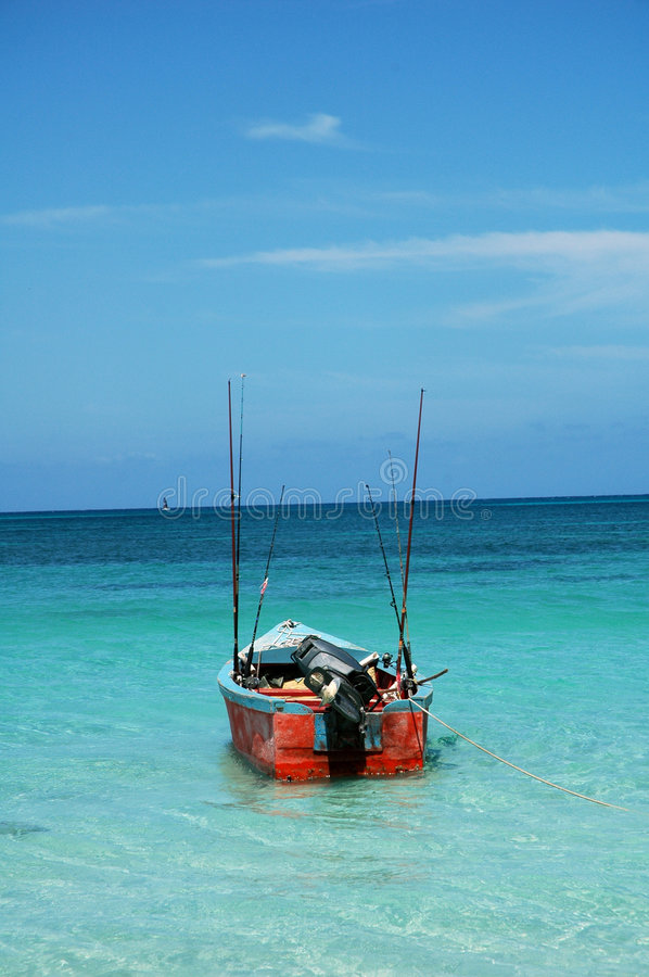 Jamaican fishing boat royalty free stock photography