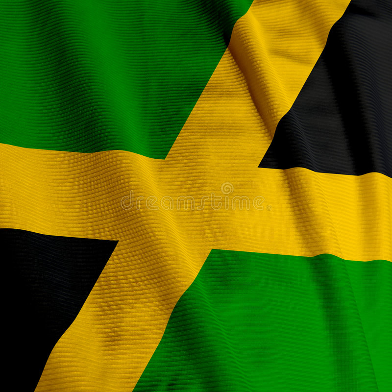 Jamaican Flag Closeup. Close up of the Jamaican flag, square image royalty free stock photo