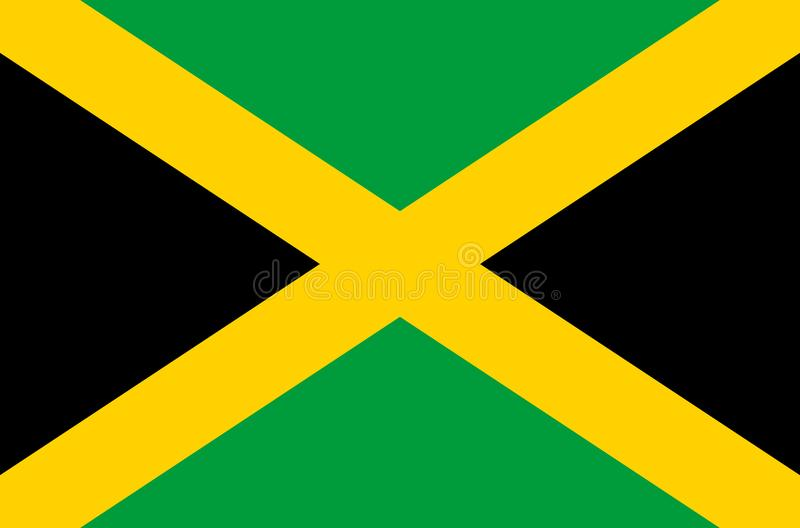 Jamaican national flag, official flag of Jamaica accurate colors. True color vector illustration
