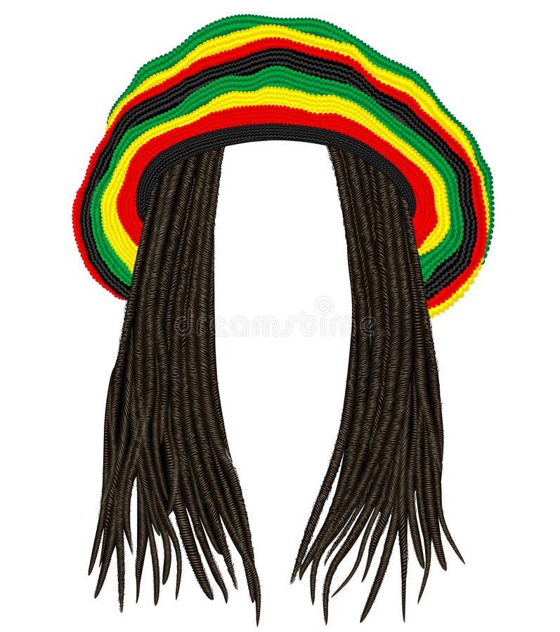 Jamaican rasta hat. Hair dreadlocks. reggae . funny avatar stock photography