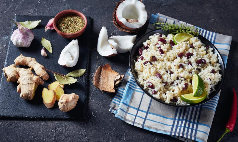 Jamaican Rice and Red Beans in a bowl stock images