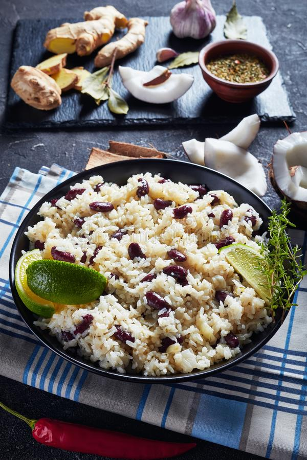 Caribbean Rice and Red Beans, top view royalty free stock image