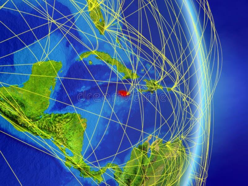 Jamaika auf Planetenplanet Erde mit Netz Konzept des Zusammenhangs, der Reise und der Kommunikation Abbildung 3D Elemente von die stock abbildung