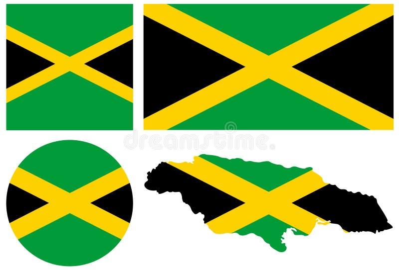 Jamaika-Flagge und Karte - Inselstaat aufgestellt im karibischen Meer stock abbildung