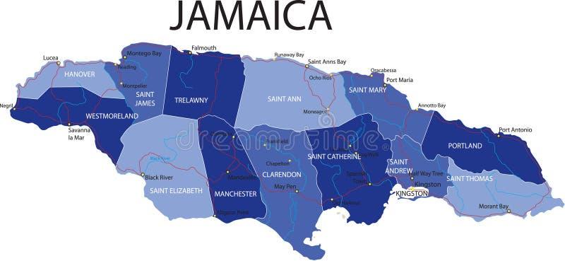 Jamaika-Karte. lizenzfreie abbildung