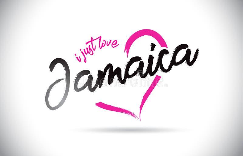 Jamaika liebe ich gerade Wort-Text mit handgeschriebenem Guss und rosa Herz-Form stock abbildung