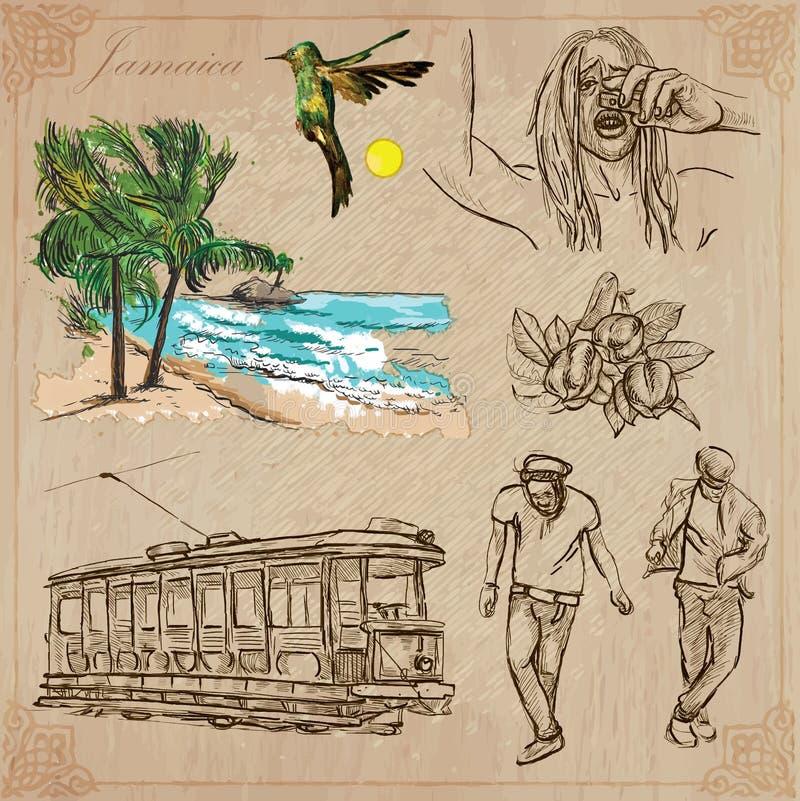 Jamaika-Reise - ein Hand gezeichneter Vektorsatz lizenzfreie abbildung