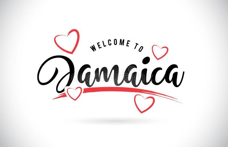Jamaika-Willkommen, zum des Textes mit handgeschriebenem Guss und roter Liebe abzufassen lizenzfreie abbildung