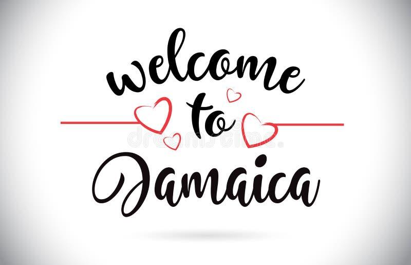 Jamaika-Willkommen zum Mitteilungs-Vektor-Text mit roten Liebes-Herzen Illu lizenzfreie abbildung