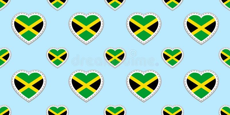 Jamaikansk bakgrund Sömlös modell för Jamaica flagga Vektorstikers Förälskelsehjärtasymboler Bra val för sportsidor stock illustrationer