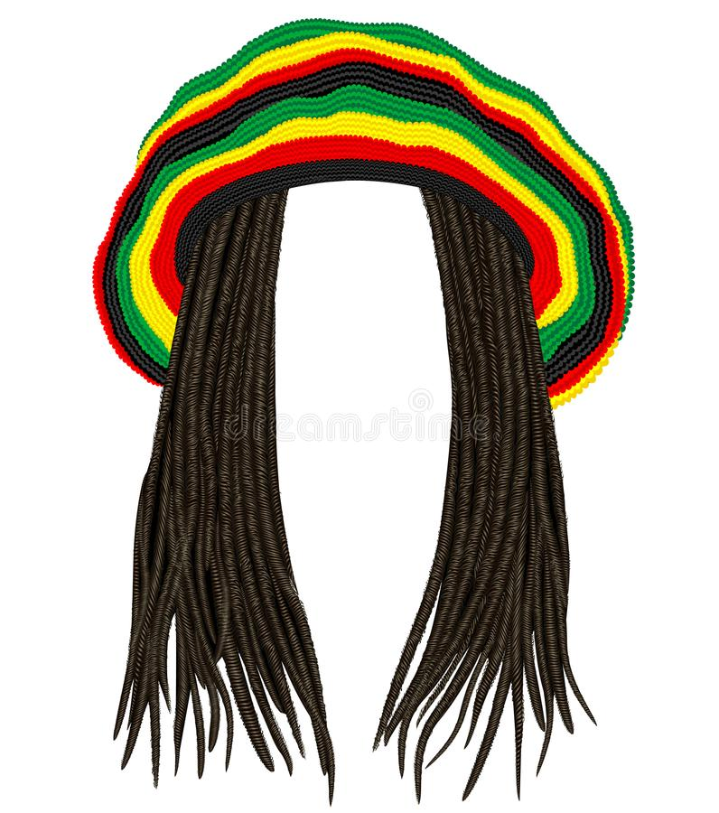 Jamaikansk rastahatt Hårdreadlocks reggae Rolig avatar stock illustrationer