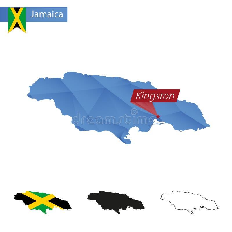 Jamajka błękitna Niska Poli- mapa z kapitałem Kingston ilustracja wektor
