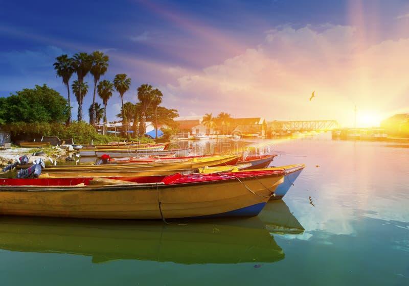 Jamajka czarny łodzi Jamaica obywatela rzeka obraz royalty free