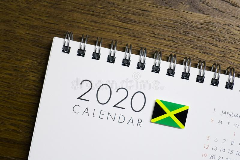 Jamajka flaga na 2020 kalendarzu fotografia stock