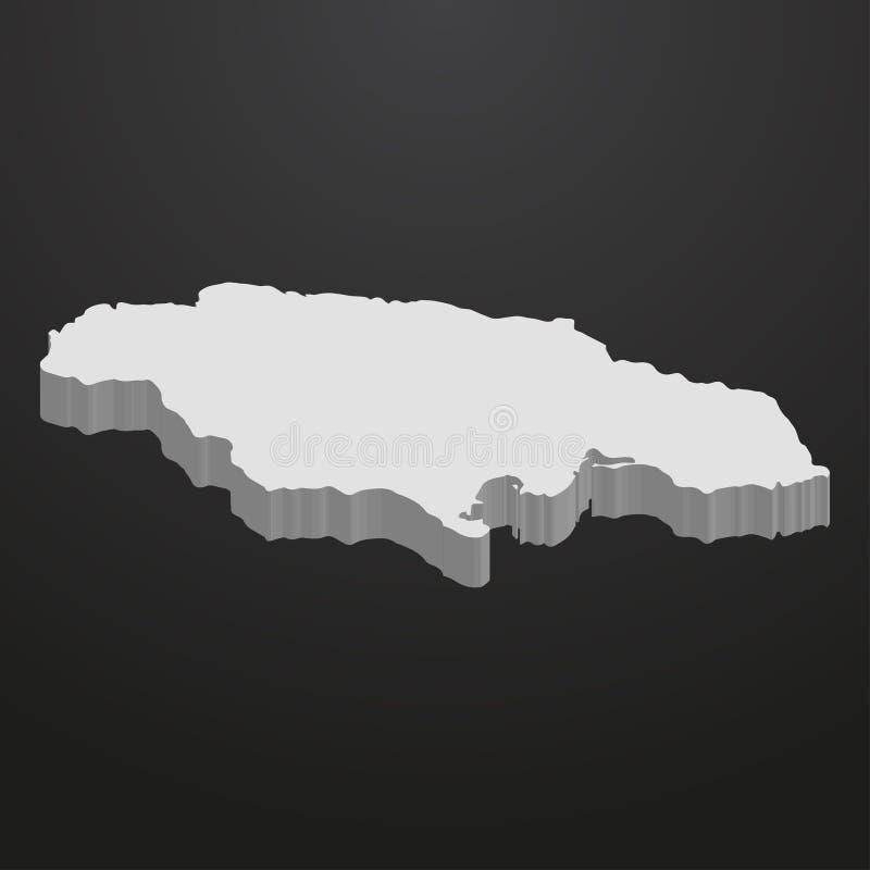 Jamajka mapa w szarość na czarnym tle 3d ilustracji