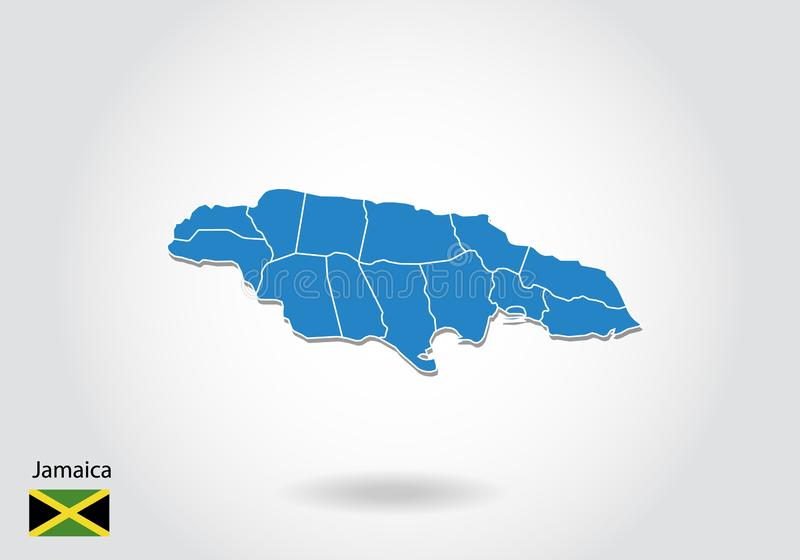 Jamajka mapy projekt z 3D stylem Błękitna Jamajka flaga państowowa i mapa Prosta wektorowa mapa z konturem, kształt, kontur, na b ilustracja wektor