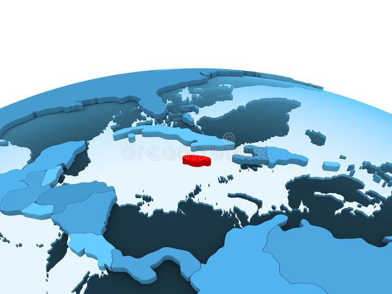Jamajka na błękitnej politycznej kuli ziemskiej ilustracja wektor