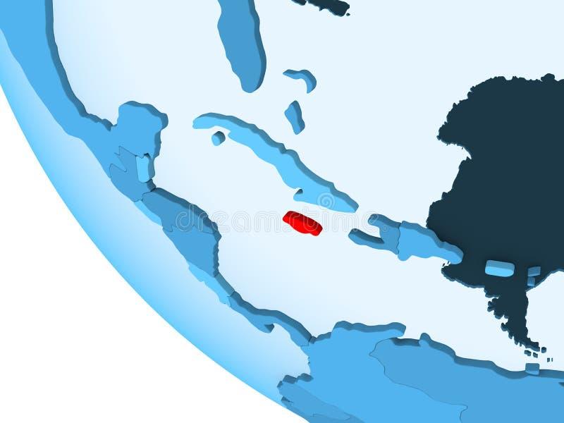 Jamajka na błękitnej politycznej kuli ziemskiej ilustracji
