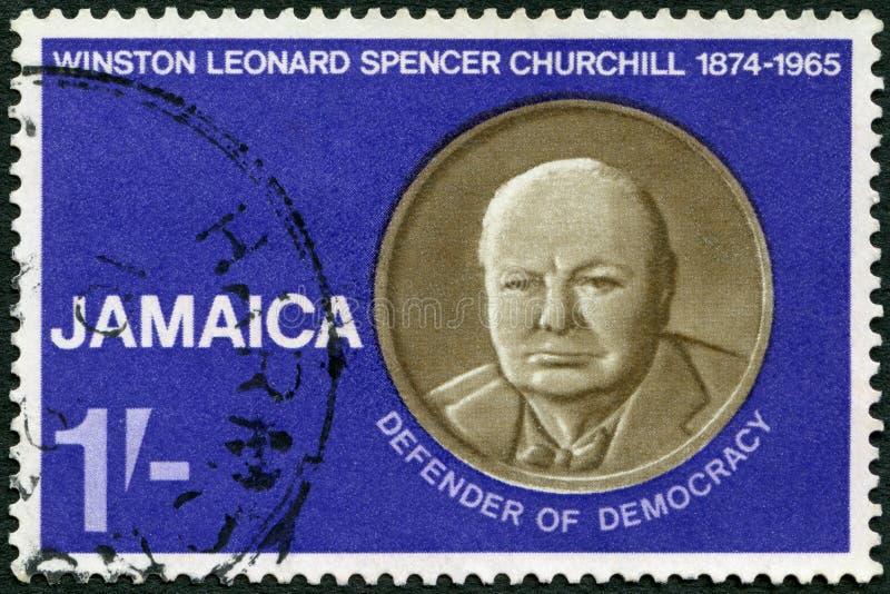 JAMAJKA - 1966: przedstawienia Sir Winston Spencer Churchill 1874-1965, mąż stanu i WWII lider, obrońca demokracja obraz stock