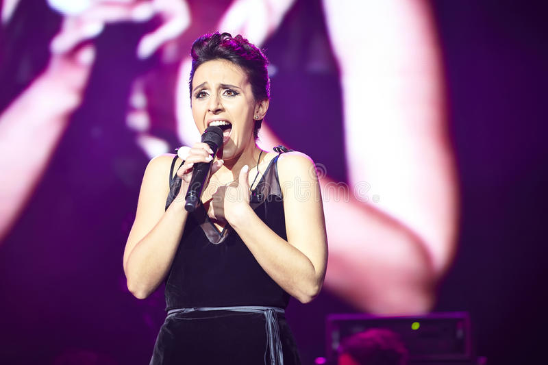 Jamala at solo concert at Lviv Opera House royalty free stock image
