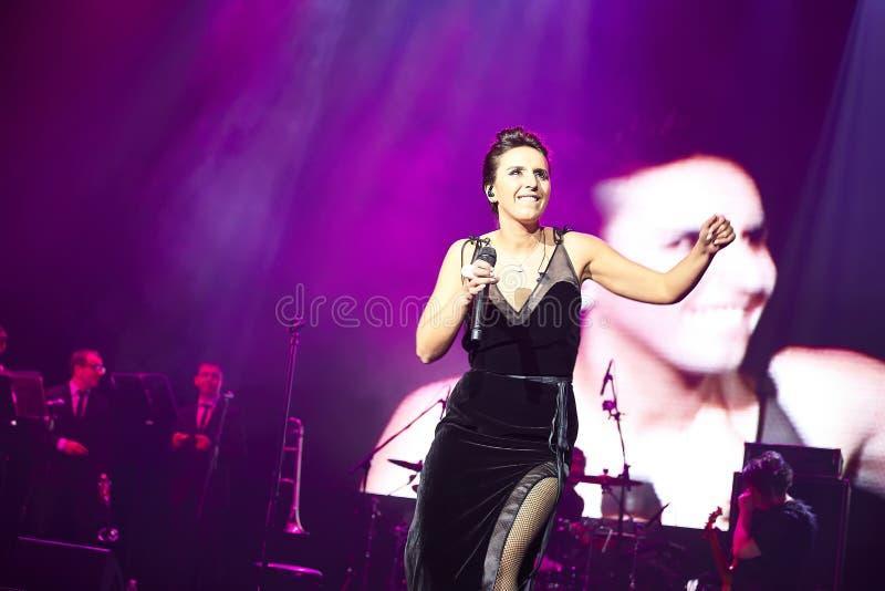 Jamala at solo concert at Lviv Opera House. LVIV, UKRAINE - March 31, 2015: Ukrainian singer Jamala at solo concert at Lviv Opera House. Jamal won 61st annual royalty free stock images