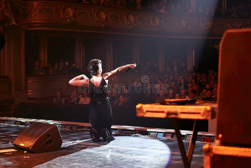 Jamala at solo concert at Lviv Opera House royalty free stock images