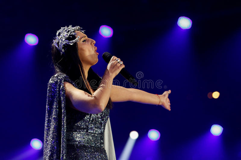 Jamala from Ukraine eurovision 2017. KYIV, UKRAINE - MAY 12, 2017: Jamala from Ukraine at the Grand Final rehearsal during Eurovision Song Contest, in Kyiv royalty free stock photo