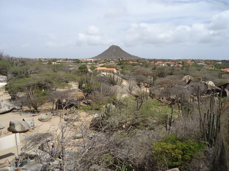 Jamanota wzgórze wysoki w Aruba zdjęcie stock