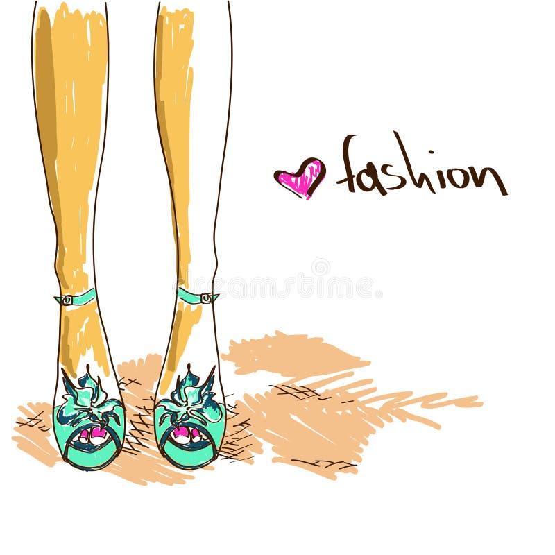 Jambes de femme dans des chaussures de mode illustration libre de droits