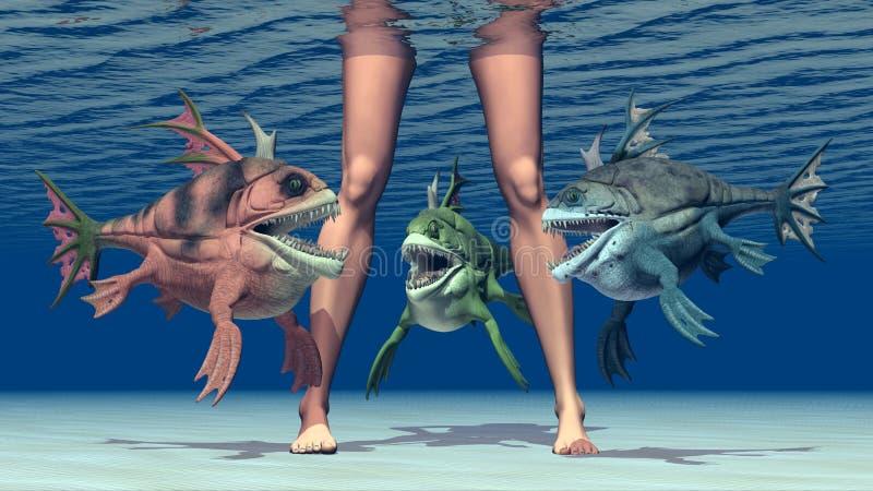 Jambes de femme et poissons monstrueux illustration stock