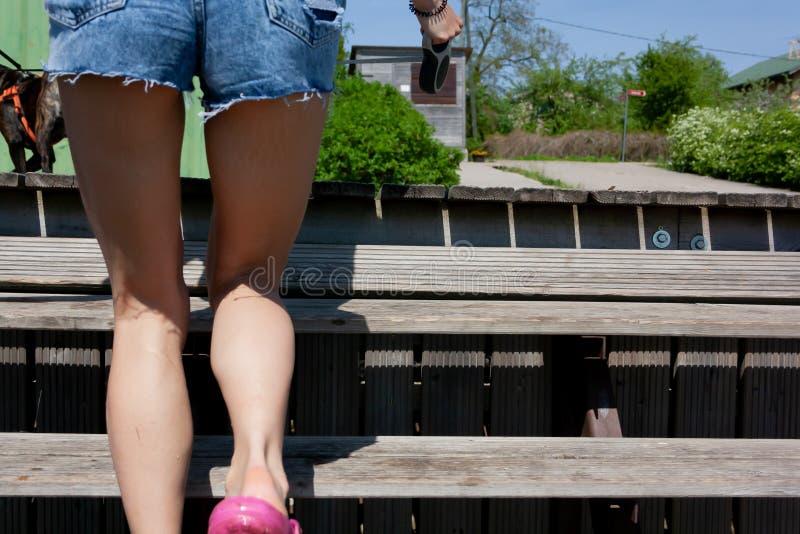 Jambes Du ` S De Femme Sur Escaliers Photo stock - Image du ...