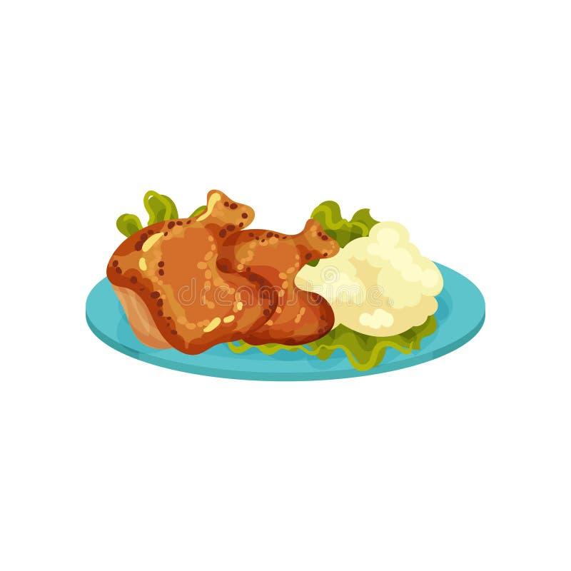 Jambes de poulet frit et purée de pommes de terre, illustration savoureuse de vecteur de plat sur un fond blanc illustration stock