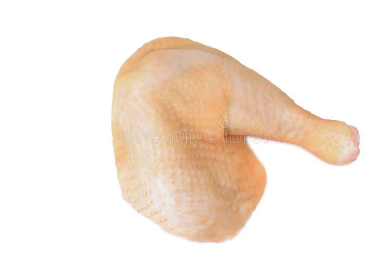 Jambes de poulet sur un fond blanc La pièce crue fraîche de dinde est photos stock