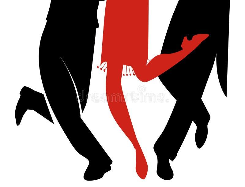 Jambes de trois personnes portant de rétros robes dansant Charleston illustration libre de droits