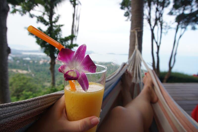 Jambes femelles balançant dans l'hamac avec le cocktail POV de mangue photographie stock libre de droits