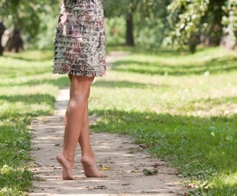Jambes femelles bien faites sur un chemin dans le jardin images stock