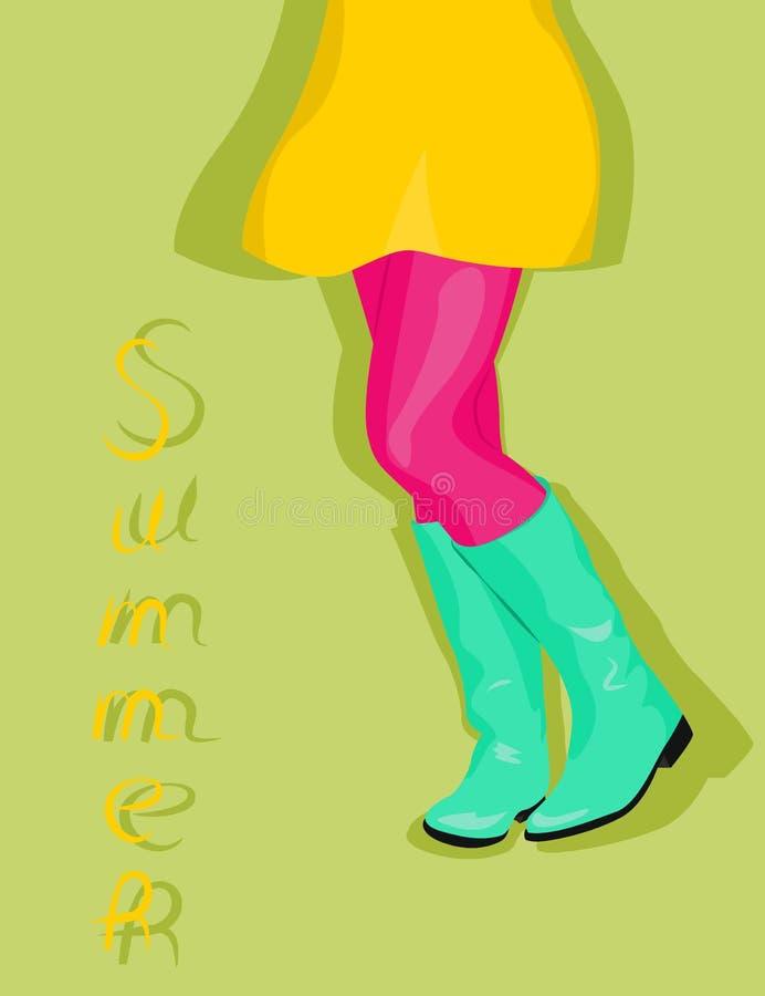 Jambes femelles dans des bottes de turquoise illustration de vecteur