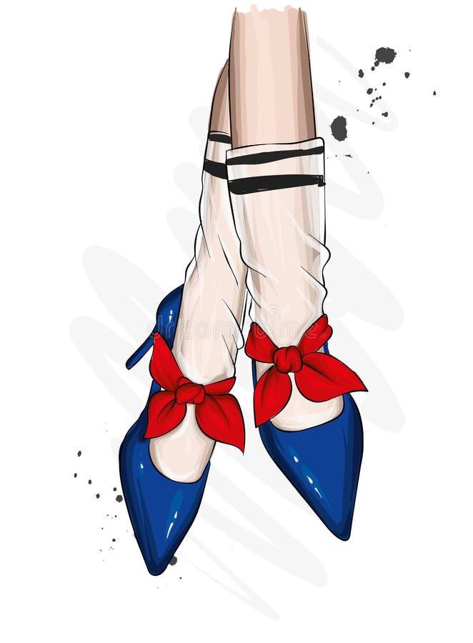 Jambes femelles dans des chaussures élégantes avec des talons et des chaussettes de dentelle Mode et style, habillement et access illustration de vecteur