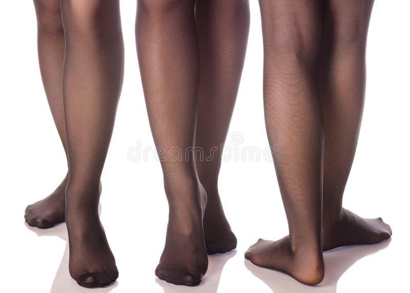 Jambes femelles dans les bas noirs de collants de la beauté différente de directions photographie stock libre de droits