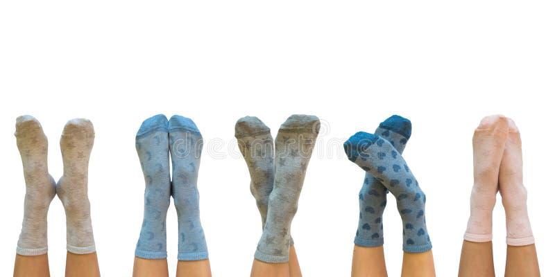 Jambes femelles dans les chaussettes colorées d'isolement sur le blanc photographie stock libre de droits